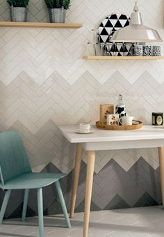 The Essentials- Ombre Textured Subway Tiles: swedishmink, ShoreThing, OysterBay… Tuile Chevron, Chevron Tile, Herringbone Tile, Chevron Walls, Küchen Design, House Design, Design Trends, Design Color, Blog Design