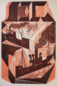 Block Ships, collograph by Charles Shearer via Emma Mason - British Prints.