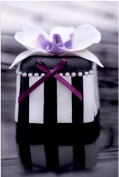 Black Orchid black and white striped mini cake by Rachelles