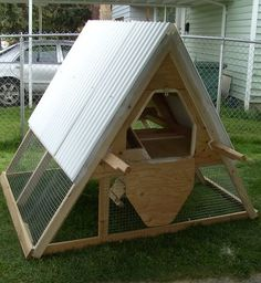 10 DIY A Frame Chicken Coop Plans-These coops are cheap,   mobile and easy to build for keeping a small flock of chickens.