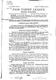 Corsets and the tariff 1922 / Fair Tariff League.