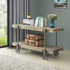 Farmhouse Bar Carts, Industrial Console Tables, Sofa Tables, End Tables, Weathered Wood, Wood And Metal, Silver Metal, Home And Living, Living Room