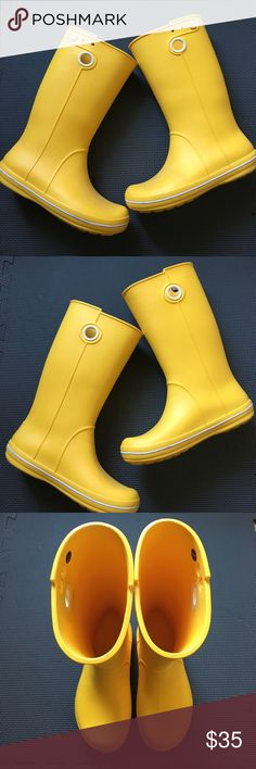 Lightweight yellow Crocs rain boots These are a pair of lightweight rain boots that don't get to see a lot of rain.  I bought these because the brilliant yellow makes me think of having fun in rain showers. These are also super lightweight and not heavy like other rain boots. Unfortunately, rainy weather is rare in LA and I simply need to make room in my shoe closet. These have only been worn 3-4 times and are still in great condition. CROCS Shoes Winter & Rain Boots