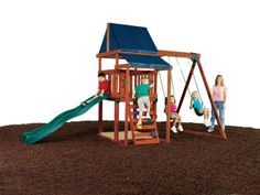 Asheville Wood Complete Swing Set for Small Yards | Swing-N-Slide