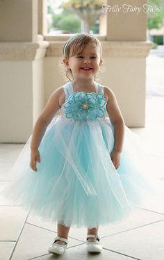 48250088c19 Light Blue Flower Girl Dress by FrillyFairyTales on Etsy