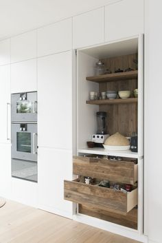 Kitchen - concealed bench space + stacking micro/convection + oven (higher up like this if possible)