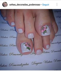 Uñas de pies Fingernail Designs, Toe Nail Designs, Feet Nails, My Nails, Plaid Nails, Summer Toe Nails, Nails 2017, Manicure E Pedicure, French Pedicure