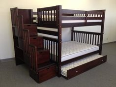 Stairway Full over Full Bunk Bed - Cappuccino + Twin Trundle delivered for only $1125 ***this bed separates into 2 full beds as they grown older & have separate rooms