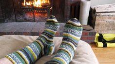 He loves his cozy socks.