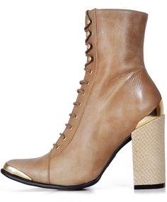 """Half Cowboy, Half Victorian"" - Jeffrey Campbell, Taupe Leather Antonio boot"