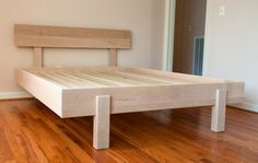 Kajaani Platform Bed made of Maple wood with English oak stain Bed Frame Design, Diy Bed Frame, Bed Design, Pallet Furniture, Furniture Projects, Cheap Furniture, Elevated Bed, Diy Bett, Murphy Bed Ikea