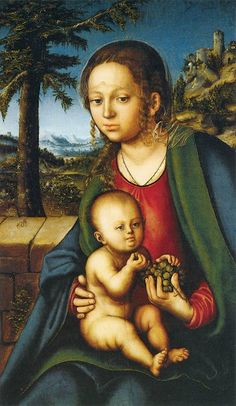 Lucas Cranach (Northern Renaissance Painter, and his workshop Madonna under a Fir Tree 1510 Lucas Cranach (Northern Renais. Creepy Paintings, Ugly Baby, Lucas Cranach, Les Religions, Martin Luther, Peter Paul Rubens, Madonna And Child, Museum, Blessed Mother