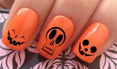 Halloween nail art set #684 x20 pumpkin faces mix water transfer decals stickers by Nailiciousuk on Etsy