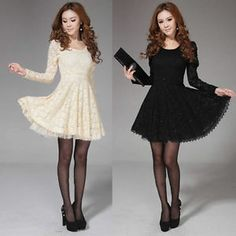 Fashion Women Long Sleeve Crew Neck Lace Slim Cocktail Party Formal Mini Dress
