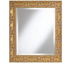 "Adrienne Gold Leaf 26 3/4"" x 31 1/2"" Beveled Wall Mirror | 55DowningStreet.com"