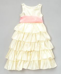 Loving this Ivory & Rose Tiered Bow Dress - Toddler & Girls on #zulily! #zulilyfinds