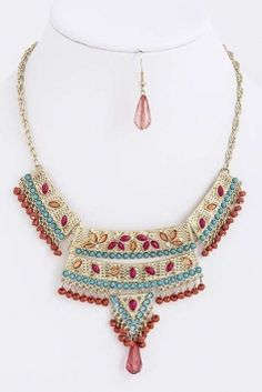 Ethnic Inspired Multi Color Bead Fashion Set Jewelry $21
