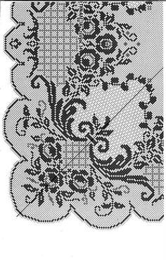 Kira scheme crochet: Scheme crochet no. Filet Crochet Charts, Crochet Doily Patterns, Crochet Borders, Crochet Cross, Crochet Home, Crochet Motif, Crochet Doilies, Cross Stitch Patterns, Knit Crochet