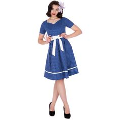 Dolly and Dotty Josephine Polka Dot 50's Inspired Dress In Blue.  Mine is actually navy blue.