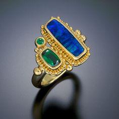 ring 22kt gold granulation opal tourmaline