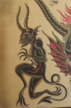 Spider Murphy Tattoo Traditional Tattoo Design, Traditional Tattoo Flash, Devil Tattoo, Dark Tattoo, Torso Tattoos, Body Art Tattoos, English Rose Tattoos, Hobo Symbols, Occult Tattoo
