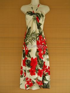 Sexy Tropical Hawaiian Halter Butterfly Party Cruise Luau Crean Red Floral Dress | eBay
