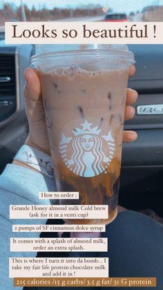 Starbucks Secret Menu Drinks, Starbucks Iced Coffee, Healthy Starbucks Drinks, Yummy Drinks, Coffee Drink Recipes, Coffee Drinks, Cinnamon Dolce Syrup, How To Order Starbucks, Starbuck Drinks