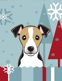 Winter Holiday Jack Russell Terrier 2-Sided Garden Flag