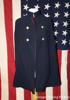 Nurses Cape - 1940's Wool Military Cape - Blue and Red Custom Vintage Lined Nursing Cape WW2 Cloak.