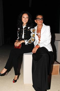 Zhang Ziyi and Rossella Jardini, Moschino Creative Director, at the club Sunny the Beach on The Bund in Shanghai, where Moschino introduced its new resort 2014 collection and the Moschino Uomo Spring/Summer 2014 collection!