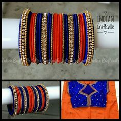 48 Silk Thread Bangles Full set Orange & Blue A set of Silk Thread Bangles Design, Silk Bangles, Silk Thread Earrings, Bridal Bangles, Thread Jewellery, Indian Bangles, Indian Jewelry Sets, Bangle Set, Girls Jewelry