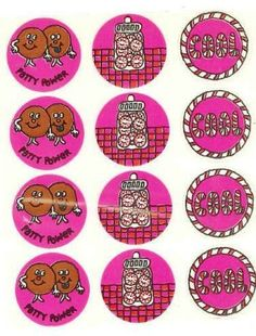 Eureka Peppermint glossy scratch and sniff stickers (1st series) - 1983  white line across stickers is from plastic covering