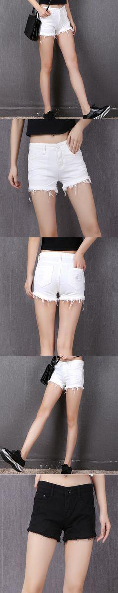 Fashion Mid Waist Hole Stretch Denim Shorts Women Clothing New Design 2017 Summer Black White Plus Size Slim Casual Short Jeans