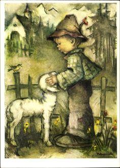 Artist Postcard Hummel, Return of the Fold, Bub mit Lamm, 62 1382