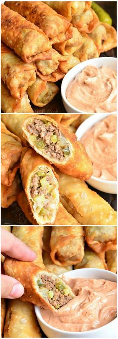 Cheeseburger Egg Rolls | from willcookforsmiles.com #fingerfood #appetizer