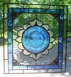 Colbalt Teardrop stained glass plate panel