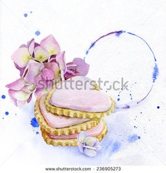 Gentle and romantic image of a heart-shaped cookies covered with pink frosting with hydrangea flowers nearby. Against the background of soft blue watercolor stains. - stock photo
