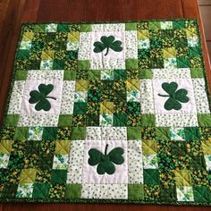 St Patrick's Day Table Topper Shamrock by PatsPassionQuilteds
