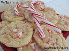 Chewy Candy Cane Cookies *These are so good! Definitely chewy which is a must with my husband*