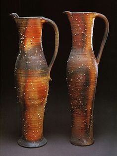 These pitchers were created by Martina Lantin of Whitefish, Montana. Lantin was a 2002 Ceramics Monthly Emerging Artist. Ceramic Pitcher, Ceramic Jugs, Ceramics Monthly, Sculptures Céramiques, Ceramic Artists, Ceramic Pottery, Oeuvre D'art, Tea Pots, Whitefish Montana