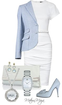 """""""Pale Blue and White"""" a perfect wedding outfit Business Outfits, Office Outfits, Business Fashion, Business Wear, Work Fashion, Fashion Outfits, Womens Fashion, Fashion Ideas, Classy Outfits"""