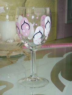 Beach Chic Handpainted Pink Flip Flop Wine Glass