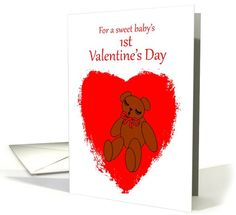 Baby's 1st Valentine's Day Teddy Bear with Red Heart card