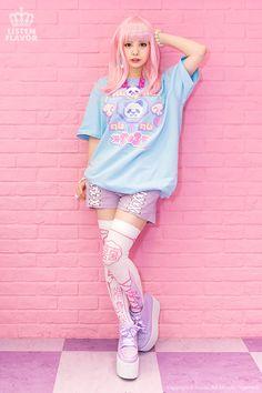 listen-f | Rakuten Global Market: One is Panda collabobig T shirts • cute APPS and BEADS×LISTEN FLAVOR (ritsonflavor) Hara-Juku of girly pop punk rock Gothic Lolita KERA series Zipper system blue character personality school fashion