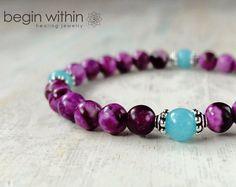 Amplificar su intuición Sugilite pulsera / Crystal Healing pulseras / pulsera de Yoga / Reiki pulsera / pulsera de Wicca
