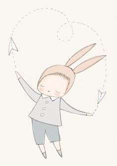 Boys Room Decor - Baby Boy Bunny Rabbit with Flying Paper Plane - Beige and Gray - Neutral tones A3 Poster op Etsy, £20.60