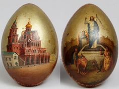 Egg, case of papier-mache. With the motive of Christ's resurrection and the Temple