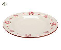 4 Assiettes céramique, rose et blanc - Ø26