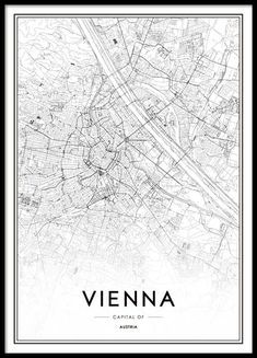 Vienna Map Poster in the group Posters & Prints / Maps & cities at Desenio AB Wall Poster, Poster Shop, City Map Poster, World Map Poster, Poster Prints, Map Posters, Vienna Map, Poster 70x100, Buy Posters Online