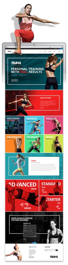 This is a personal training and group training website concept. The images in this concept belong to their respective owners. Website Layout, Web Layout, Layout Design, Logo Design, Website Ideas, Graphic Design, Website Design Inspiration, Design Blog, Design Ideas